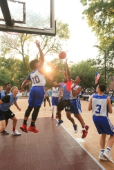 The Hamilton Park All-Stars played the Dominican Repbulic All-Stars at Hamilton Park in Jersey City on Monday, July 31, 2017. Lincoln's Duron Henderson goes up for a shot . (Michael Dempsey | The Jersey Journal)