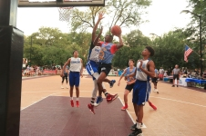 The Hamilton Park All-Stars played the Dominican Republic All-Stars at Hamilton Park in Jersey City on Monday, July 31, 2017. Lincoln's Duron Henderson goes up for a shot. (Michael Dempsey | The Jersey Journal)