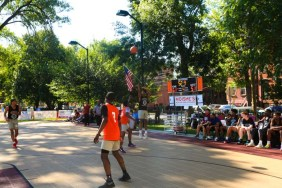 Dickinson defeated Irvington 63-53 in a Hamilton Park Summer League basketball game on Monday, July 9, 2018. Dickinson's Jaqual Gertrude takes a shot.