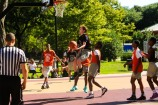Dickinson defeated Irvington 63-53 in a Hamilton Park Summer League basketball game on Monday, July 9, 2018. Dickinson's Luc Chapeau goes up for a shot.