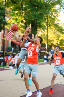 St. Peter's Prep defeated Matawan 50-20 in a Hamilton Park Summer League basketball game on Monday, July 9, 2018. St. Peter's Prep Mark Armstrong takes a shot.