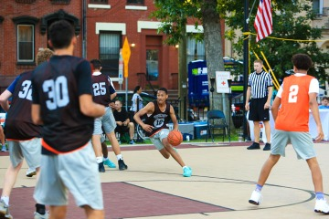 St. Peter's Prep defeated Matawan 50-20 in a Hamilton Park Summer League basketball game on Monday, July 9, 2018. St. Peter's Prep Mark Armstrong drives to the hoop.